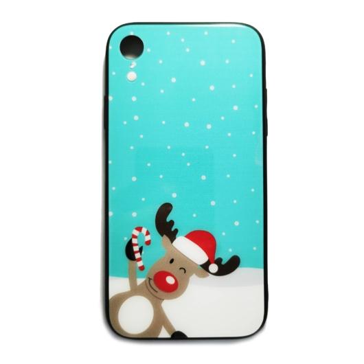 Kék téli rénszarvasos karácsonyi tok edzett üveg hátlappal és TPU (szilikon) kerettel Apple iPhone Xs