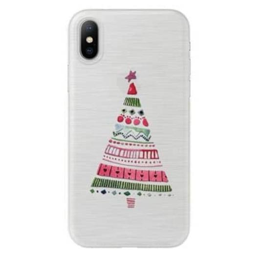 Áttetsző karácsonyfa mintás karácsonyi TPU szilikon tok Apple iPhone X/Xs