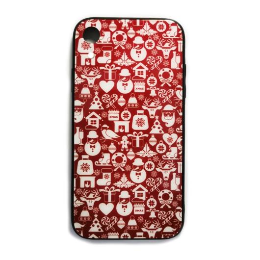 Bordó fehér karácsonyi mintás tok edzett üveg hátlappal és TPU (szilikon) kerettel Apple iPhone X