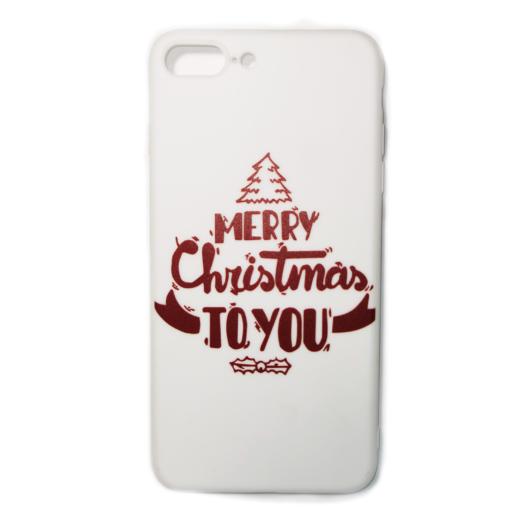 Fehér Merry Christmas to you karácsonyi mintás TPU szilikon tok Apple iPhone 7 Plus/8 Plus