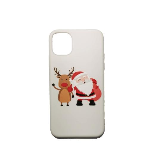 Fehér rénszarvas és télapó karácsonyi mintás TPU szilikon tok Apple iPhone 7/8/SE 2020