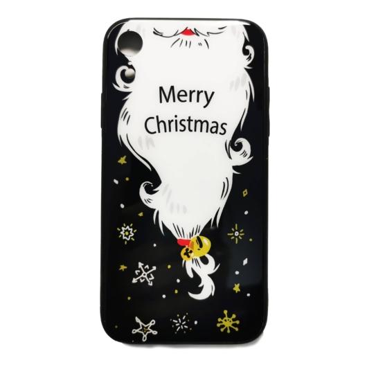 Fekete mikulás szakálla karácsonyi tok edzett üveg hátlappal és TPU (szilikon) kerettel Apple iPhone X/Xs