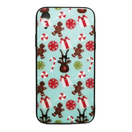 Világoskék mézeskalács mintás karácsonyi tok edzett üveg hátlappal és TPU (szilikon) kerettel Apple iPhone 7 Plus/8 Plus