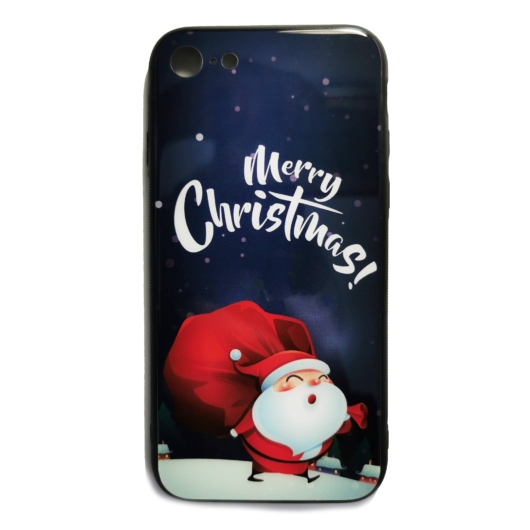 Sötétkék Mikulásos karácsonyi tok edzett üveg hátlappal és TPU (szilikon) kerettel Apple iPhone Xr