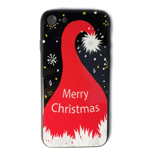 Fekete mikulássapkás karácsonyi tok edzett üveg hátlappal és TPU (szilikon) kerettel Apple iPhone 7/8/SE 2020