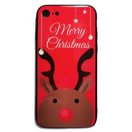 Piros rénszarvasos karácsonyi tok edzett üveg hátlappal és TPU (szilikon) kerettel Apple iPhone Xs Max