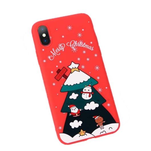 Piros fenyőfás karácsonyi mintás TPU szilikon tok Apple iPhone Xs