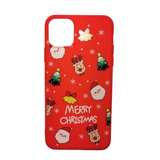 Piros karácsonyi mintás TPU szilikon tok Apple iPhone Xs Max