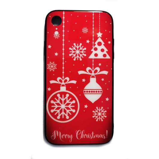 Piros díszes karácsonyi tok edzett üveg hátlappal és TPU (szilikon) kerettel Apple iPhone X/Xs