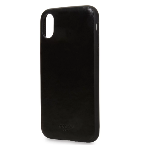 Knomo Fekete PC (műanyag) Tok Eredeti Bőr Hátlappal, iPhone X/Xs