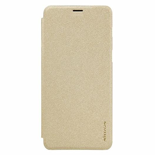 Nillkin Sparkle Oldalra nyíló Flip Arany Bőr tok, műanyag (PC) tartóval, Samsung Galaxy S10, SM-G973