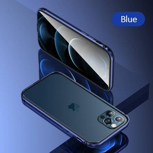 Usams FellWell alumínium ötvözet + szilikon keret bumper tok Apple iPhone 12 Pro - kék