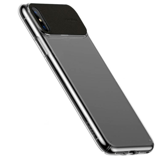 Baseus Fekete PC (műanyag) Tok Bőr Betéttel iPhone Xs MAX