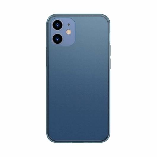 Baseus Frosted Glass matt kék üveg hátú tok iPhone 12 mini