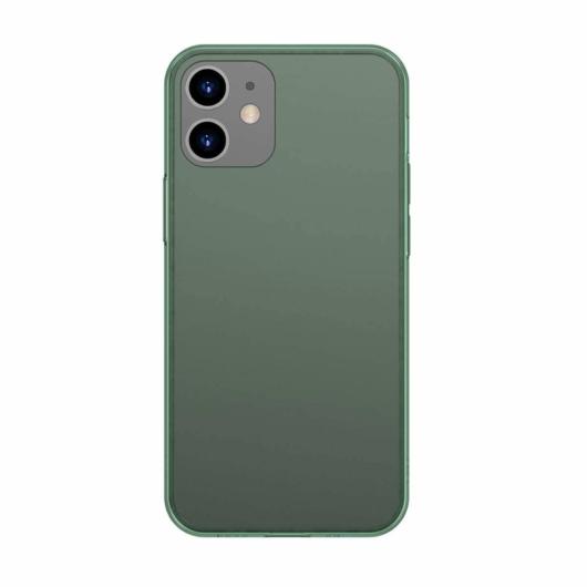 Baseus Frosted Glass matt zöld üveg hátú tok iPhone 12 mini