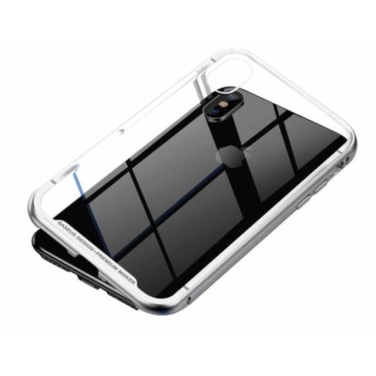 Baseus Magnetite Hardware Mágneses Ezüst Alumínium tok iPhone X/Xs