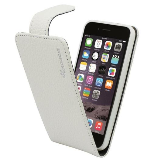 Colorfone Fehér lefelé nyíló bőr flip tok TPU (szilikon) kerettel Apple iPhone 6s Plus