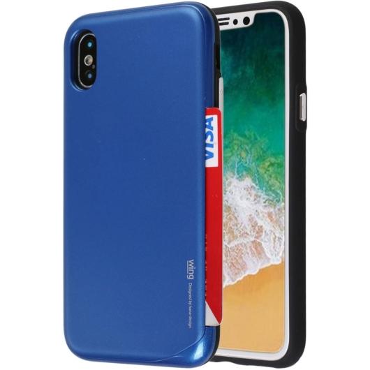 Hana Wing Bumper Kártyatartó kék tok műanyag hátlappal és szilikon kerettel iPhone X/Xs