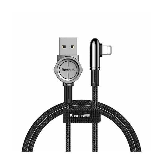 Baseus Lightning kábel, Exciting Mobile Game, lekerekített L-alakú csatlakozó, 2.4A, 1m, fekete