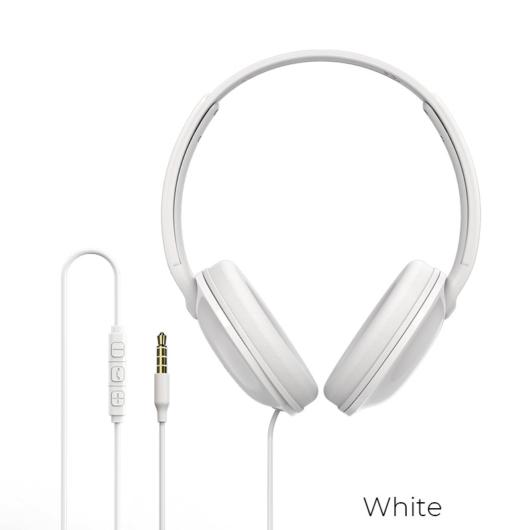 Borofone B01 Enjoybass vezetékes fejhallgató - fehér