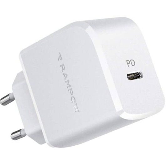 Rampow hálózati gyorstöltő adapter, Type-C, PD, 20W  - Fehér